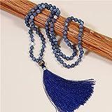 108 collana mala collana naturale in pietra naturale collana navy blu nappa collana yoga meditazione gioielli gioielli