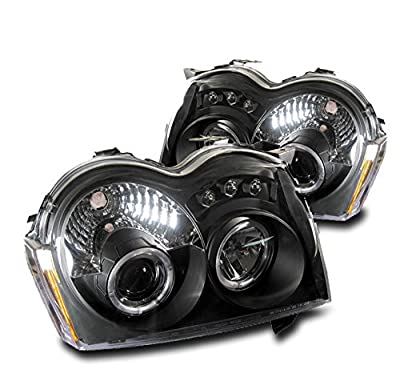 ZMAUTOPARTS Jeep Grand Cherokee Sport Suv Halo LED DRL Projector Headlights Lamp Black