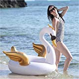 2 Colors 150CM Pool Float Inflatable Boat Swan Swimming Float Adult Tube Raft Kid Swim Air Mattresses Ring Summer Water Toy 2019-white
