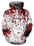 ALISISTER Unisex Hoodies Kapuzenpullover 3D Verrückt Bloody Bedruckt Hooded Pullover Sweatshirt Teen Mädchen Jungen Langarm Halloween Kostüme Kapuzenpullis M