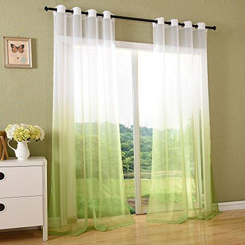 Schal transparent Farbverlauf Vorhang mit Ösen Gardine Voile, 2 Stück 245x140, Apfelgrün, 204202