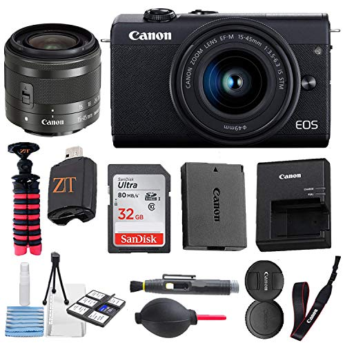Canon EOS M200 Mirrorless Digital Camera 24.1MP Sensor w/EF-M 15-45mm f/3.5-6.3 is STM Lens + SanDisk 32GB Memory Card + Spider Tripod + Accessory Bundle (Black) (32GB)