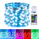 16 Color Changing Fairy Lights, 33 Feet 100 Leds Battery Operated Twinkle Lights with Remote and 4 Light Modes Waterproof 3AA Battery Case, String Lights for Bedroom Wedding Party Christmas Halloween