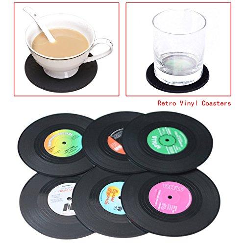 Ebilun NEUF 6 pcs Spinning Hat rétro disque vinyle sous-verres fantaisie Boisson Tapis CD Enregistrement Style Café Boisson Tasse Tapis en silicone Dessous de Verre