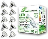 10x Spot LED greenandco® IRC 97+ 2700K 36° GU5.3 MR16 6W (corresponde a 45W) 470lm SMD LED 12V AC/DC, no regulable