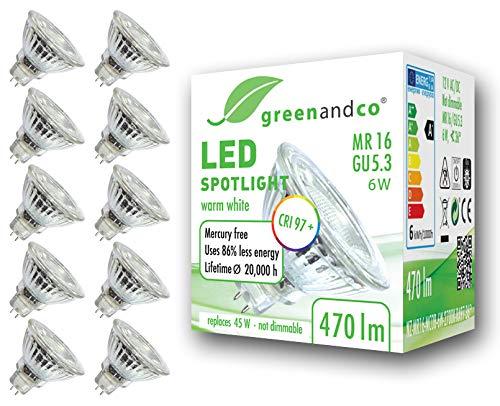 10x greenandco® CRI97+ 2700K 36° LED Spot ersetzt 45W GU5.3 MR16, 6W 470lm warmweiß 12V AC/DC, flimmerfrei, nicht dimmbar, 2 Jahre Garantie