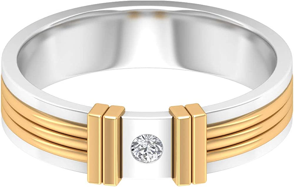 Wide Band Ring with Moissanite, Flush Set Ring (AAA Quality), 14K Gold
