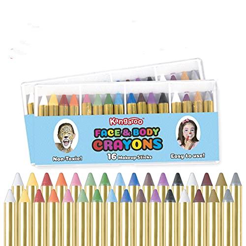 Kangaroo Face Paint Crayons 32 for Kids Face & Body Painting Makeup Crayons,...