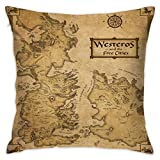 Leping Game of Thrones Map of Westeros and Free Cities Throw Pillow Cases Home Decorative Square Cushion Pillow Cover for Couch Bed Sofa with Hidden Zipper 18'' X 18