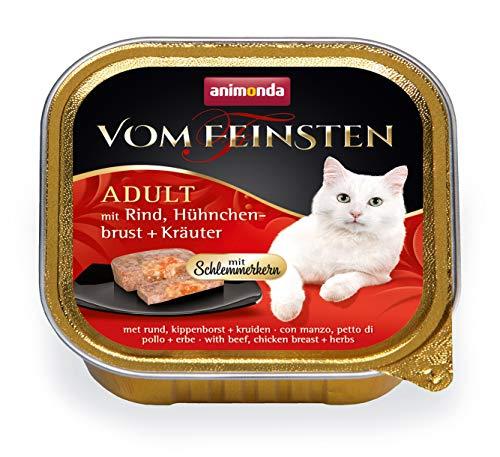 animonda Vom Feinsten Adult Katzenfutter, Nassfutter für ausgewachsene Katzen, Schlemmerkernmit Rind, Hühnchenbrust + Kräuter, 32 x 100 g