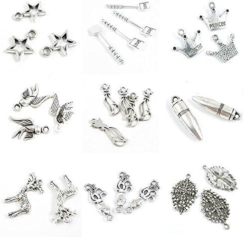 28 PCS Jewelry Making Charms Skull Cross Squid Deer Buck Bullet Crown Cat Swallow Bird Princess product image