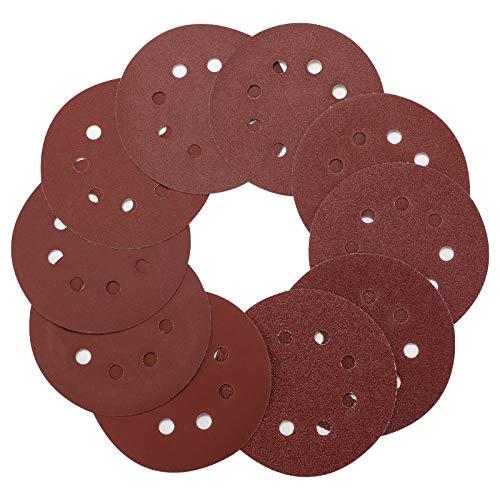 100 Stück Klett Schleifscheiben, 125mm Schleifpapier Klett für Exzenterschleifer - 8 Löcher Schleifpads für Holz Holzwerkstoffe Spanplatte Metall