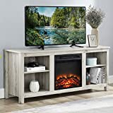 CHADIOR Wooden Stand and Electric Fireplace, Fit up to 65' Flat Screen TV with Cabinet and Adjustable Shelves Entertainment Center for Living Room, Light Grey