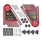WY-YAN Tratamiento de la madera doble pluma Loc Consejo Conjunto Mitre Medidor Ranura T Pista Carpintería guía de la sierra Tabla Herramientas de bricolaje de seguridad (Color : Red Set C)