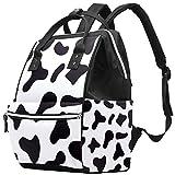 Mochila multifunción grande para pañales de bebé, diseño estampado de piel de vaca negra y blanca, para mamá y papá