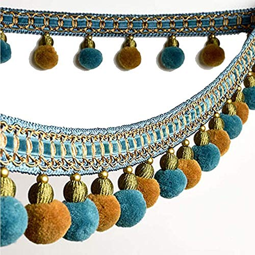XinYiC Pom Pom Bead Flecos de bolas de borlas, cinta de costura de encaje para coser almohada cortina decoración de boda accesorios de disfraz 3 metros - #F