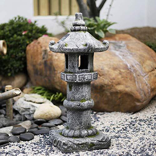 Japanese Solar Lantern Garden Antique Pagoda Ornament Outdoor Sculpture Resin Handcarved Decor,B+Height68cm