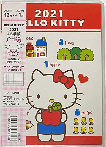 サンリオ ハローキティ 日本スケジュールカレンダー手帳 A6ポケット Sサイズ 2021フィート 12か月 クリアカバー付き (タイプA)