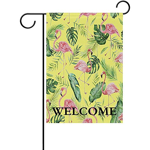 Al-FRDE Welcome Tropical Flamingo Palm Tree Pattern Polyester Garden Flag Banner12 x 18 inch Double Side Print Home Outdoor Patio Yard Garden Decor Flag