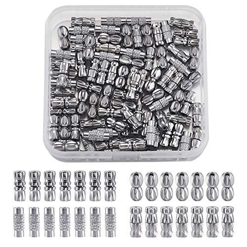 Cheriswelry, 100 juegos de cierres de rosca de latón con punta de extremo de alambre, tapones de platino para hacer joyas de bricolaje, pulseras, agujero: 0,5-1 mm
