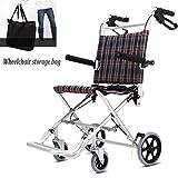 Aluminium Rollstuhl Folding Leichte Reisen Kind Behinderte Kleinen tragbaren Barrow Trolley Einfachen Attendant Rollstuhls Laden des 170kg (Size : 46cm) -