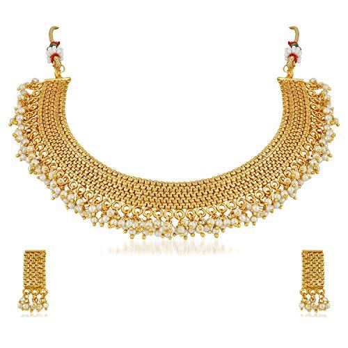 Aheli Elegante hindú tradicional bebé perla cadena collar y pendientes conjunto de boda fiesta joyas para mujeres