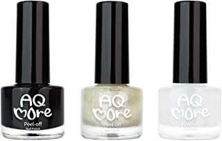 AQMORE Non Toxic Water Based Peel Off Nail Polish (Glitter) – Stays on for Days, Gel Shine, Dries in Minutes, Fragrance & Paraben Free, 1 Solid + 1 Glitter + 1 Top Coat (0.20 fl oz/Bottle)-CLEOPATRA