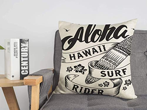 LREFON Doble Cojines Fundas 18' Insignia de tipografía de Calidad de Surf Aloha Sun Sing Tablas de Surf Signos Símbolos Flores de Hawaii Hechas a Mano Funda Almohada Suave