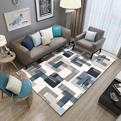 Wollteppich Blau Beige Grau L-förmiges quadratisches Muster Kurzflor-Designer Teppich extra weich Naturfaserteppich fürs Wohnzimmer,outdoor,Schlafzimmer,Esszimmer oder Kinderzimmer 120 x 170 cm