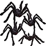 REDSTORM Halloween Spider Decoration Black Simulation 12,20,24,30 Inches Giant Scary Hairy Spider Set for Halloween Outdoor or Indoor Decoration Black Spider