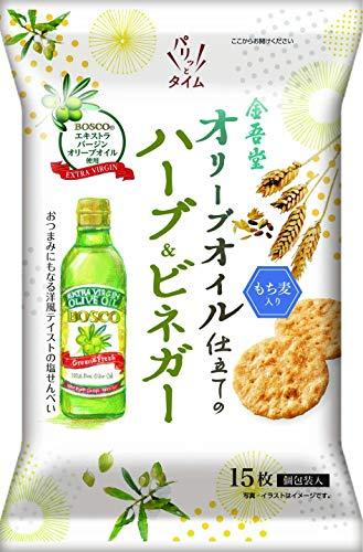 オリーブオイル仕立ての塩せんべいハーブ&ビネガー風味 15枚 ×12袋 [全年齢]