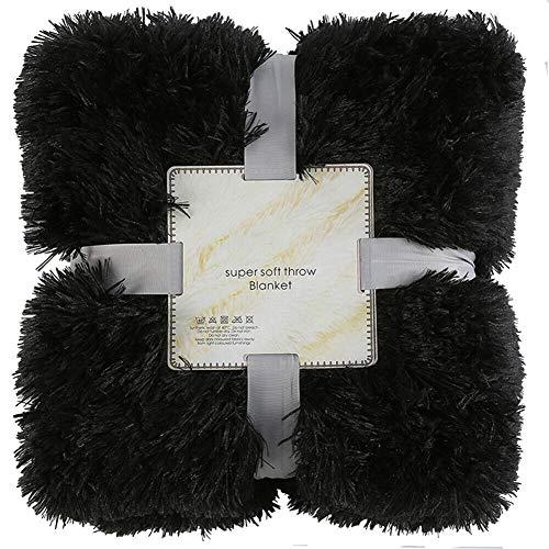 Gelentea Überwurf aus Plüsch, Kunstfell, wendbar, flauschig, zottelig, weich, warm, Geschenk für Kinder, geeignet für Bett, Stuhl oder Sofa, Schwarz, 160x200cm