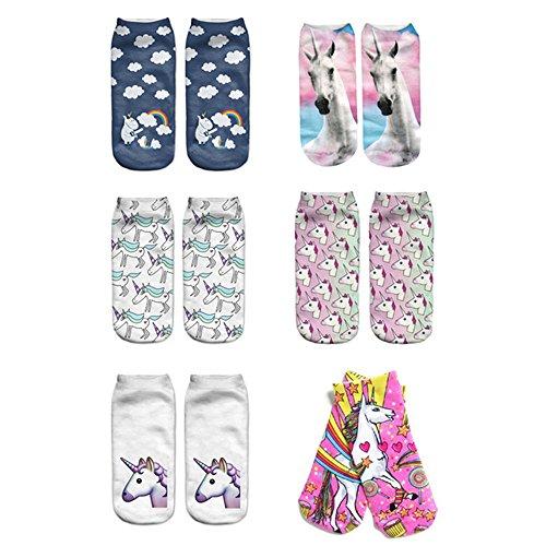 Mystery&Melody 6pcs unicornio dulce calcetines de algodn calcetines deportivos...