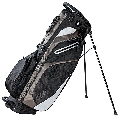 Izzo Golf Lite Stand Golf Bag Ultra Light Perfect for Carrying on The Golf Course, with Dual Straps for Easy to Carry Golf Bag, Black/Grey