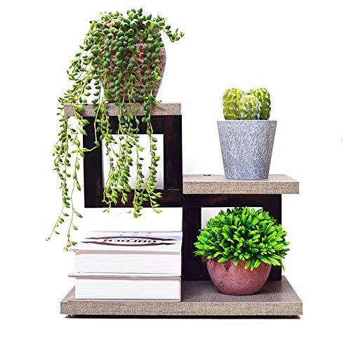 YINUO Bureau table fleur plateau simple table pied de fleur mini salon salle intégrée rack créatif petite viande multi-couche noir taille: 34x20x29cm