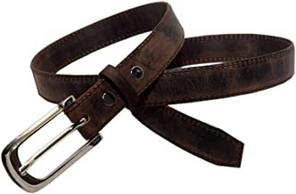 Leaderachi 100% Genuine Vintage Hunter Leather Designer Buckle Free Size Waist Belt for Women and Girls