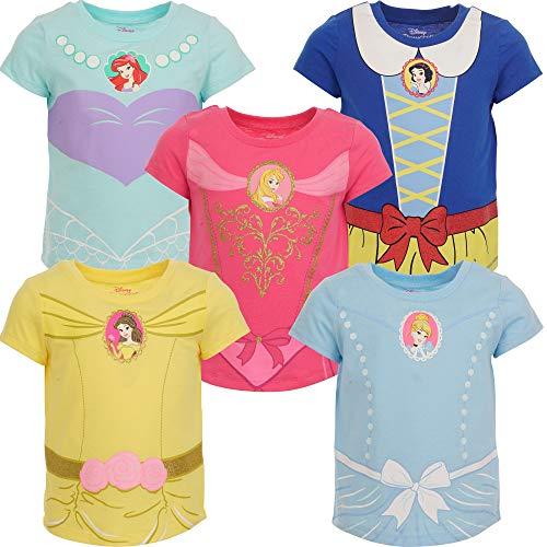 Disney Princess Toddler Girls 5 Pack T-Shirt Blue/Pink/Yellow 4T