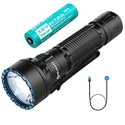 OLIGHT Freyr linterna LED Recargable Alta Potencia 1750 Lumens, luz blanca y luces RGB, Linterna Profesional para Exteriores Táctica,Aplicación de la ley, Dirección del Tráfico, Batería 5000mAh 21700