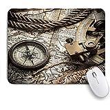 VAMIX マウスパッド 個性的 おしゃれ 柔軟 かわいい ゴム製裏面 ゲーミングマウスパッド PC ノートパソコン オフィス用 デスクマット 滑り止め 耐久性が良い おもしろいパターン (探査と航海のテーマグランジ旧世界海賊静物コンパス六分儀と世界地図)