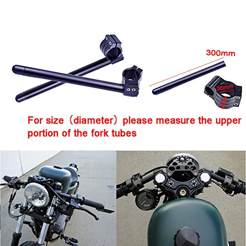 """FLYPIG 35mm 7/8"""" Fork Tube Clip-on Handlebar Replaceable Fit for motorcycle cafe racer Honda CB500 CB650 CB750 1969-1982 Suzuki TS250 GN400 GS750 Yamaha XS500 ZX550 GPz Universal 35mm handlebar Black"""