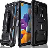 Samsung Galaxy A21 Case, COVRWARE [ Aegis Series ] with Built-in [Screen Protector] Heavy Duty Full-Body Rugged Holster Armor Case [Belt Swivel Clip][Kickstand], Black