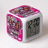 fdgdfgd Juguete para niños Bowknot Skull LED Despertador Digital de Dibujos Animados con termómetro Fecha Despertador