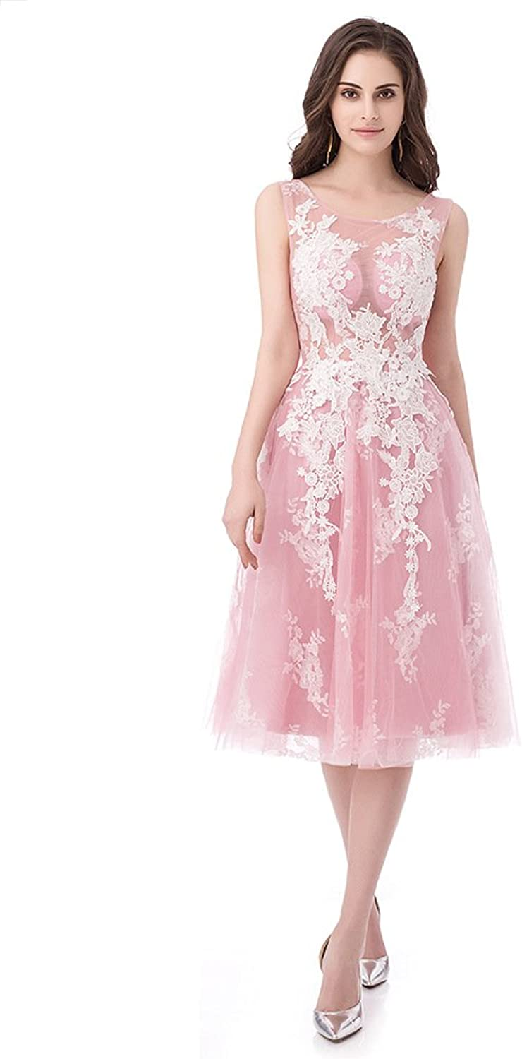 Ever Girl Bridesmaid Dresses Prom Dresses Knee Length Tulle Lace Appliques Homecoming Dresses