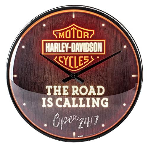 Nostalgic-Art Orologio da parete, Harley-Davidson – Road Neon – Idea regalo per biker, Grande decorazione per la cucina, Design vintage, Ø 31 cm