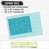 Ecopeco Combo Pack 24x36 Inch and 18x24 Inch Blue 5-Ply Double Sided Non-Toxic Cutting Mat for Arts and Crafts, Bullet Journaling, Lettering, Origami, Paper Art, Sewing, Quilting, Quilling, Scrapbooking, Drawing, Cutting