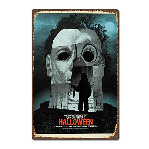 DKISEE Aluminum Safety Sign Halloween 1978 Horror Film Movie Poster Vintage Retro Durable Rust Proof Warning Sign Aluminum Metal Sign 8
