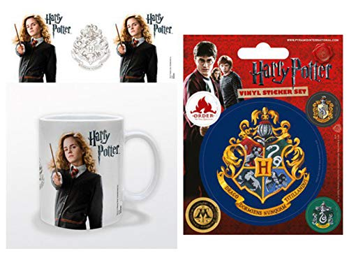 Harry Potter 1art1, Hermine Granger Foto-Tasse Kaffeetasse (9x8 cm) Inklusive 1 Poster-Sticker Tattoo Aufkleber (12x10 cm)