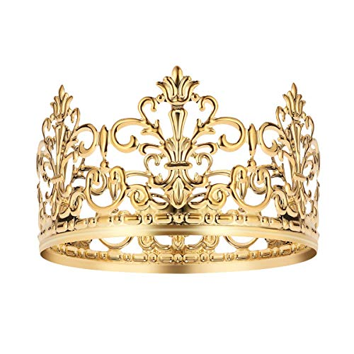 Shuiniba Vintage Gold Crown Cake Topper, Queen Princess Cake Photo Party Decor, Baby Shower Party Cake Decoration