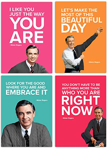 Mister Rogers Magnet Set - Magnets with Inspirational words from Mister Rogers, Assorted - Set of 4