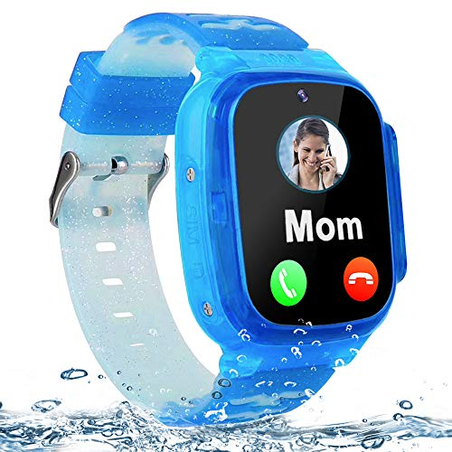 "Kids Smart Watch Waterproof LBS Tracker Phone Watches for Boys Girls Age 4-12 with SOS Calling Camera Puzzle Games Alarm Clock LED Flashlight 1.44"" Touch Screen Smartwatch Birthday Gift (Black & Blue)"